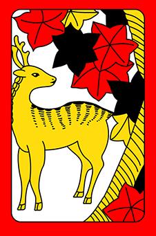 Октябрь, Клён, 紅葉, momiji - животное: олень, 10 очков